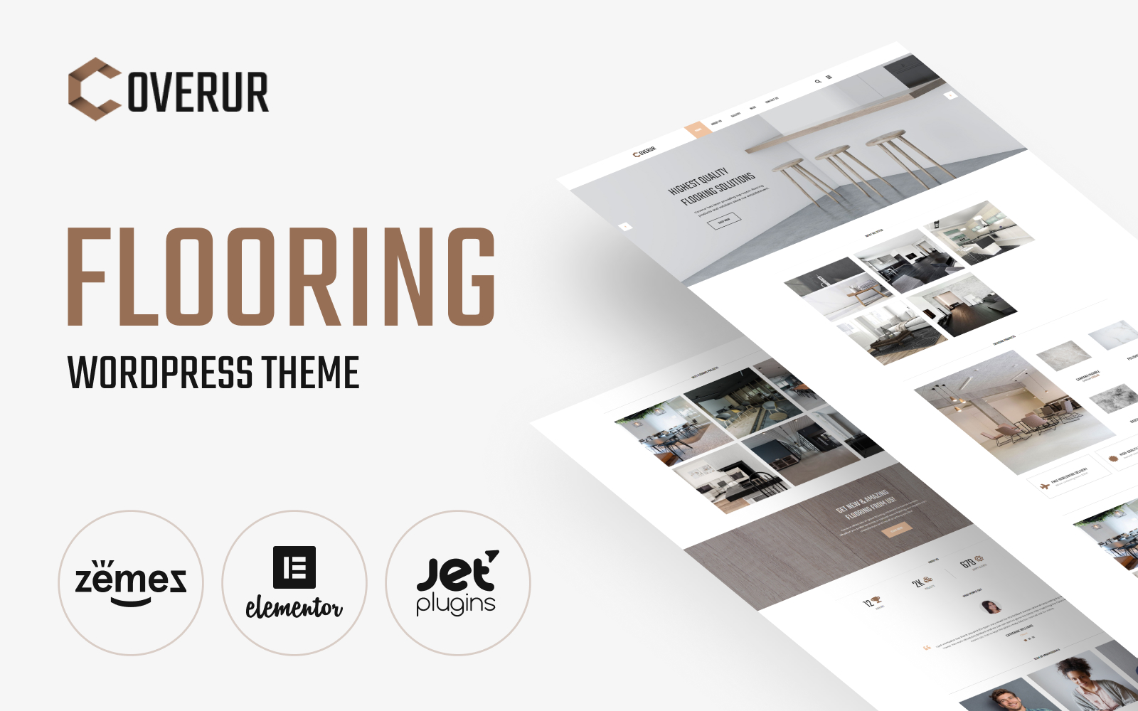 Coverur - Flooring Company Multipurpose Minimal Elementor Tema WordPress №81169