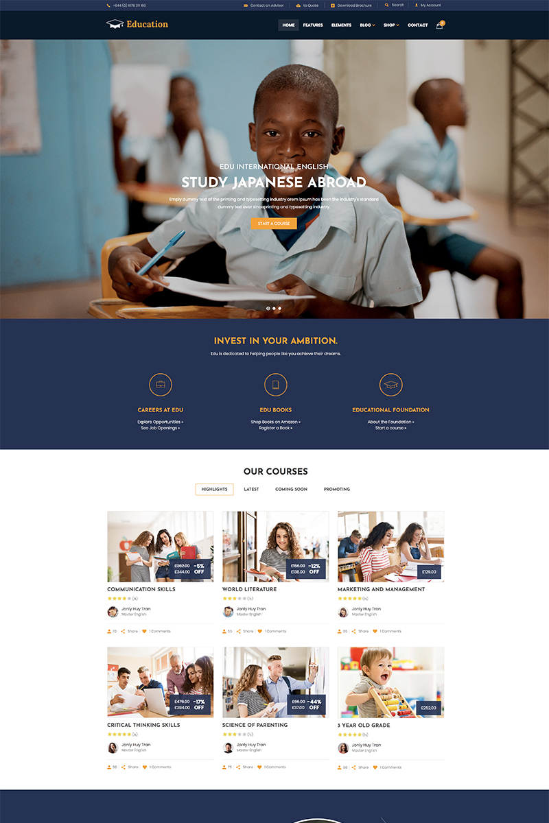 """Education - WordPress Theme"" - WordPress шаблон №81130"