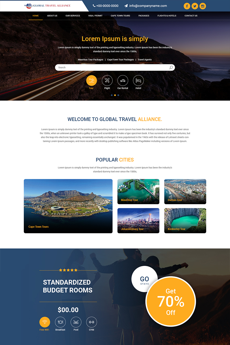 Global Travel - Travel Company PSD Template