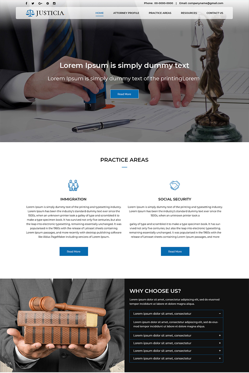 Justicia - Law Firm PSD Template