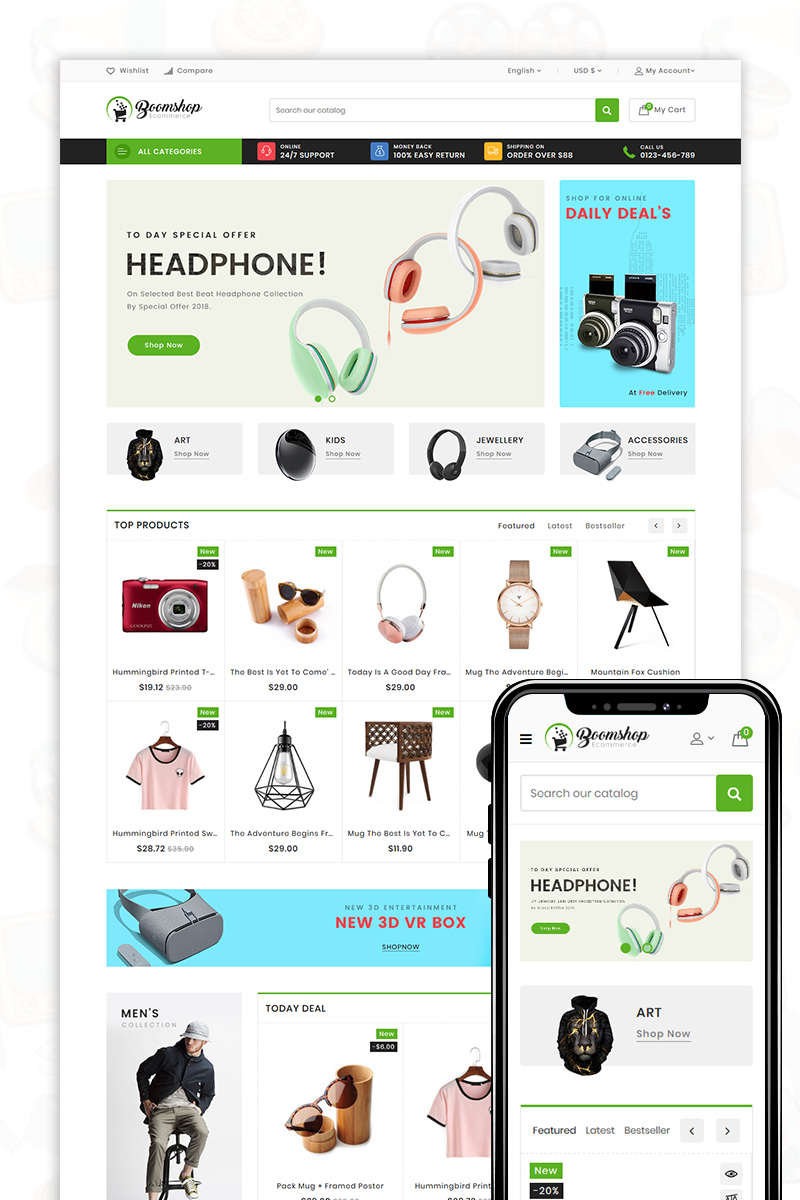 """Modello OpenCart Responsive #81179 """"Boomshop - The Shopping Mall"""""""