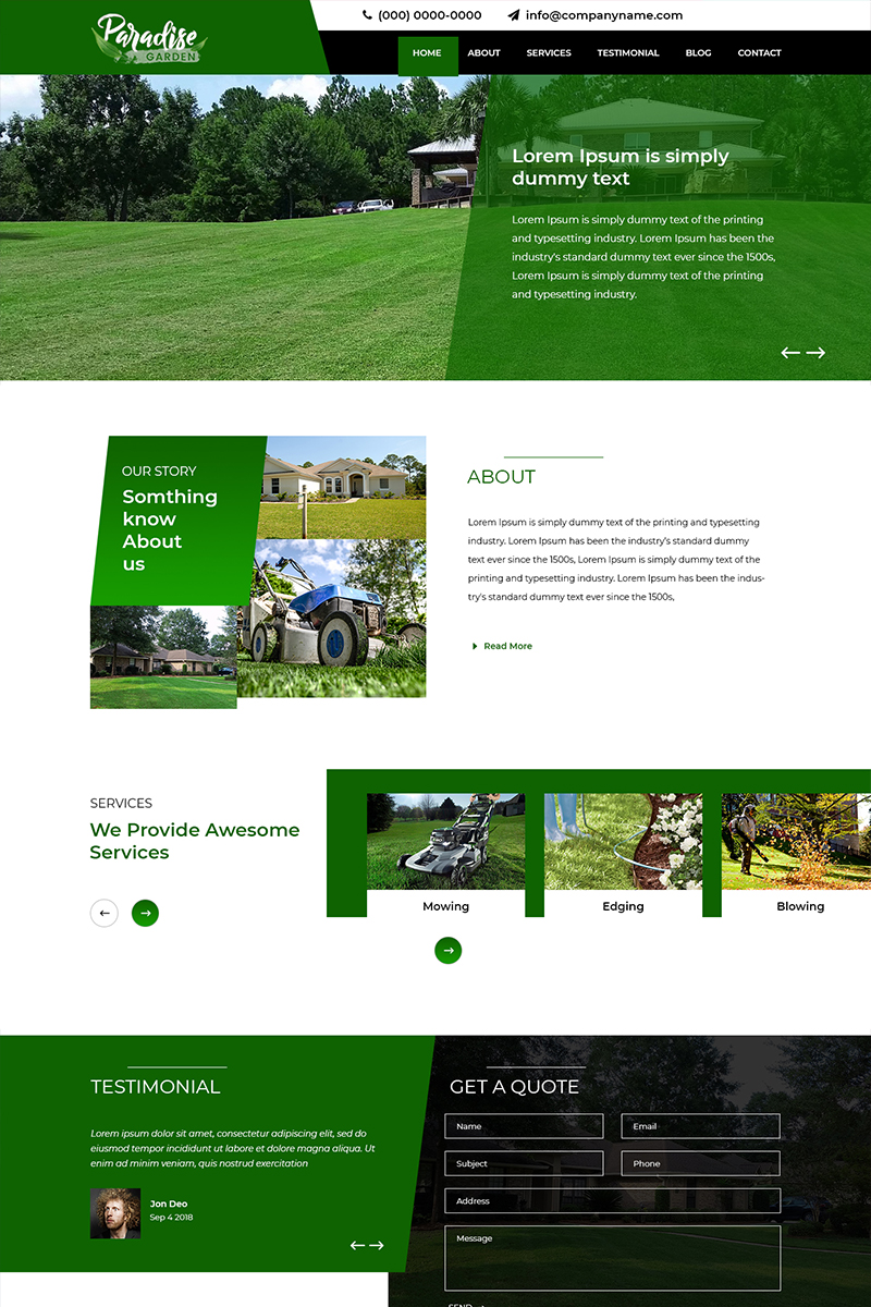 Paradice - Landscaping Services PSD Template