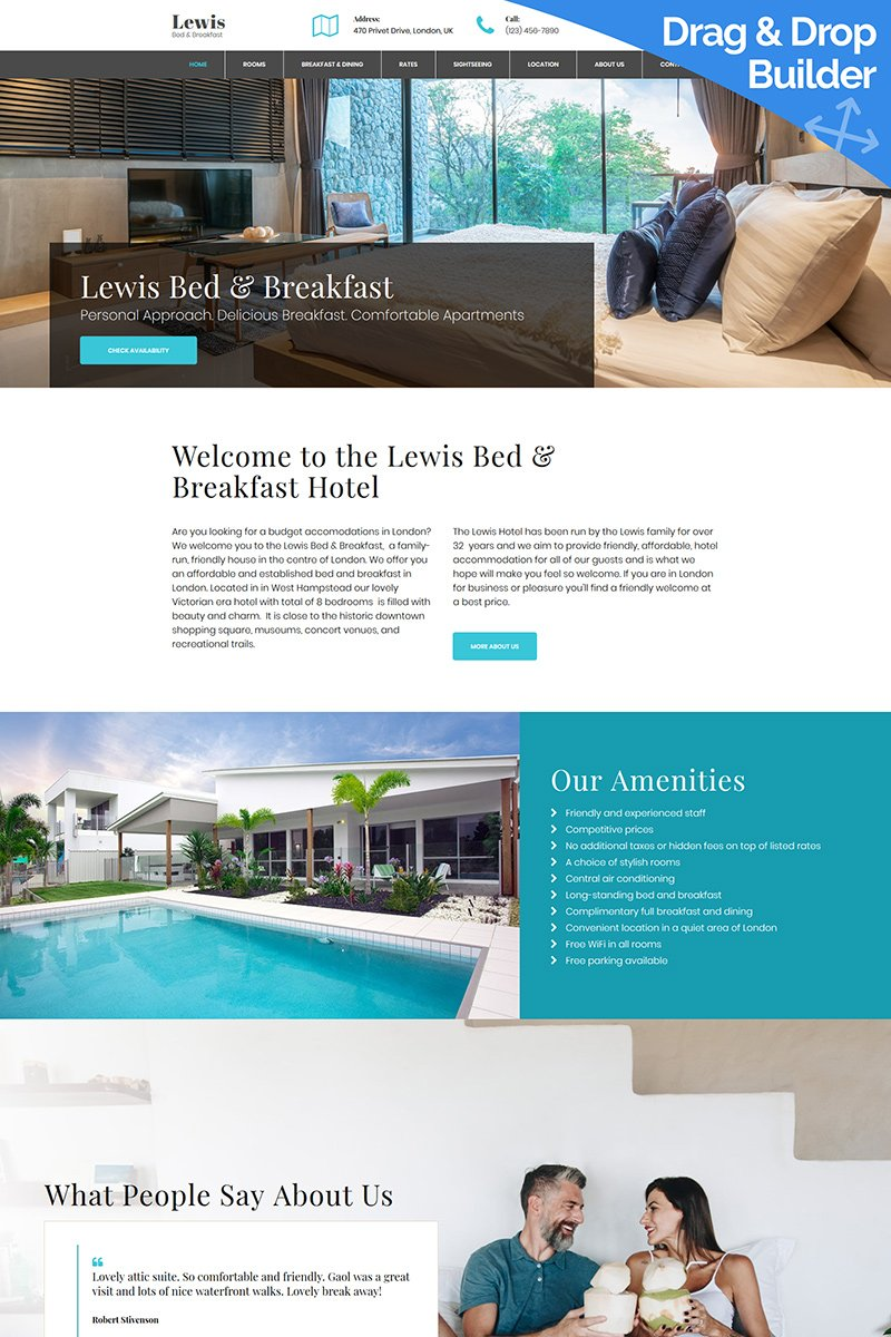 Responsive Lewis - Bed and Breakfast Moto Cms 3 #81126
