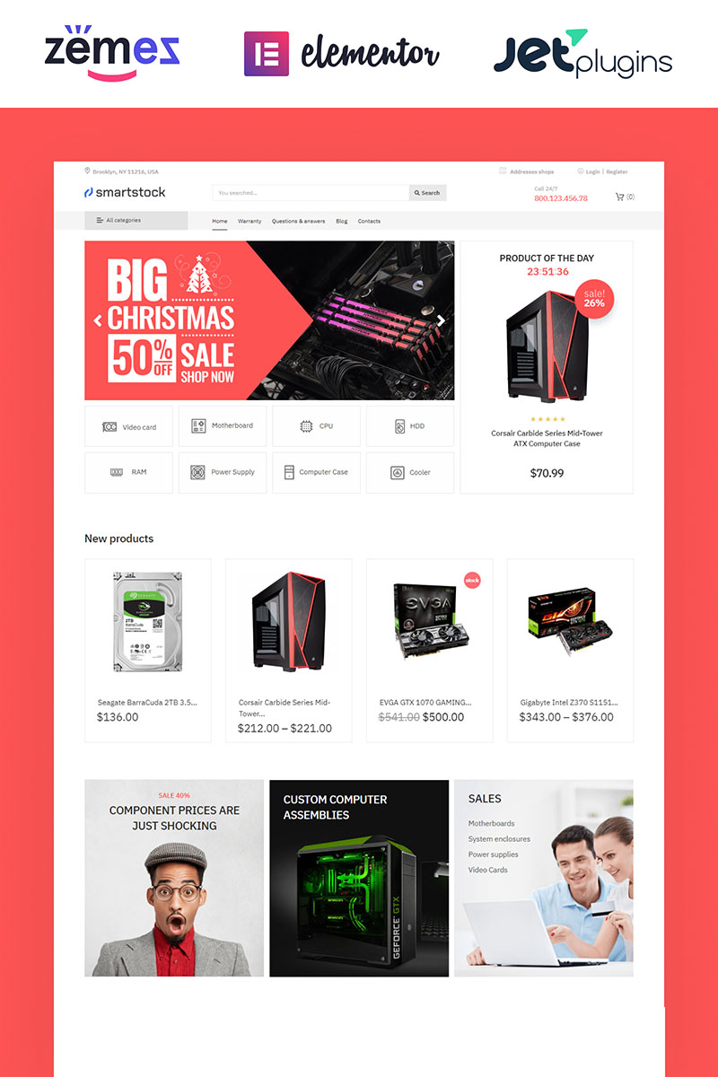 Responsive Smartstock - Electronics ECommerce Classic Elementor Woocommerce #81127