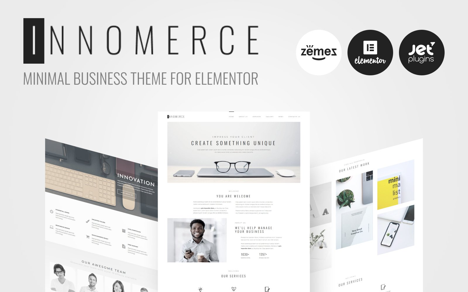 Responsivt Innomerce - Business Multipurpose Minimal Elementor WordPress-tema #81170