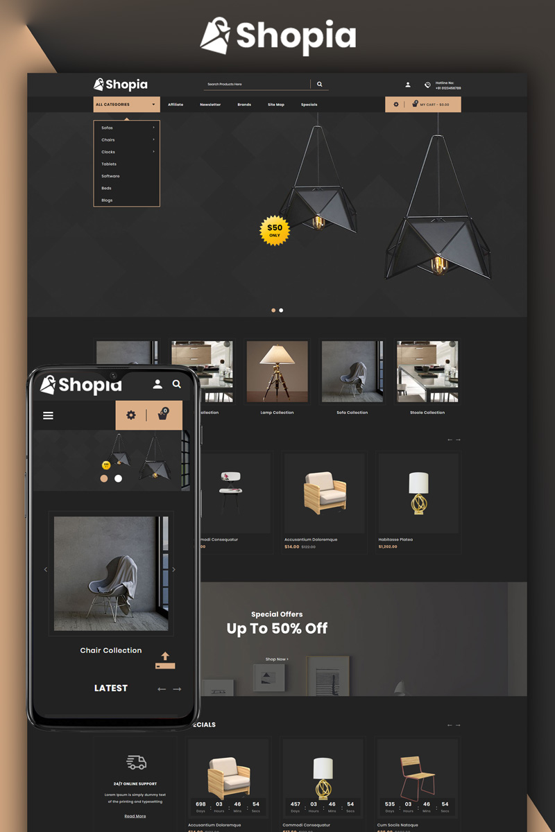 """Shopia - Furniture Store"" - адаптивний OpenCart шаблон №81171"