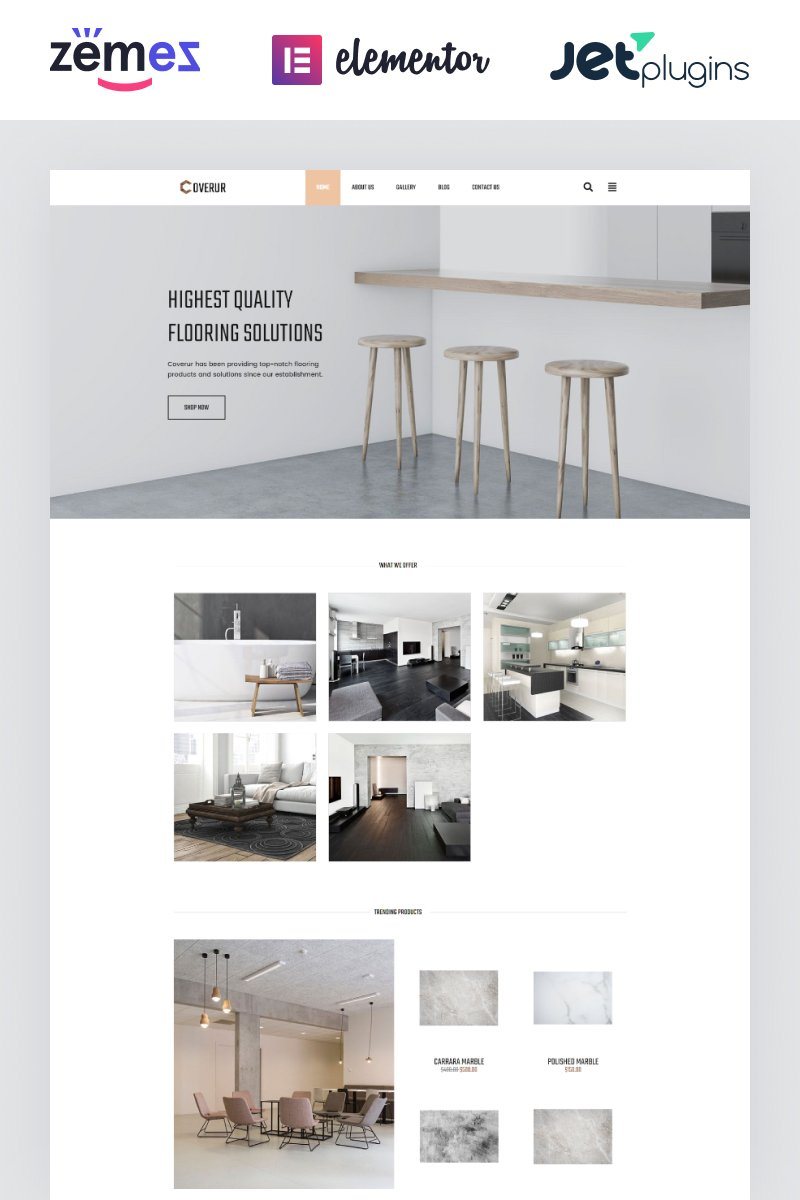 "Tema De WordPress ""Coverur - Flooring Company Multipurpose Minimal Elementor"" #81169 - captura de pantalla"