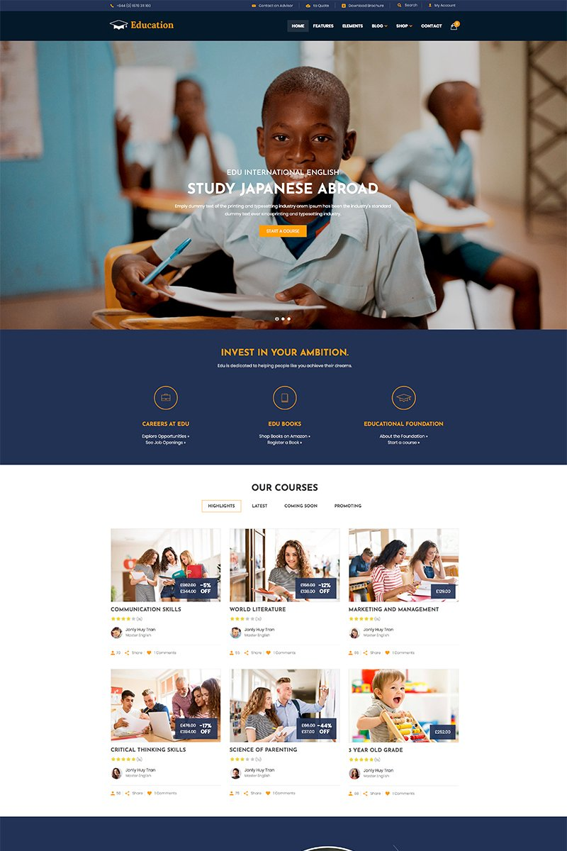 "Template WordPress #81130 ""Education - WordPress Theme"""