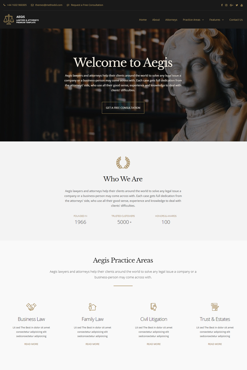 Aegis - Lawyers and Attorneys Website Template