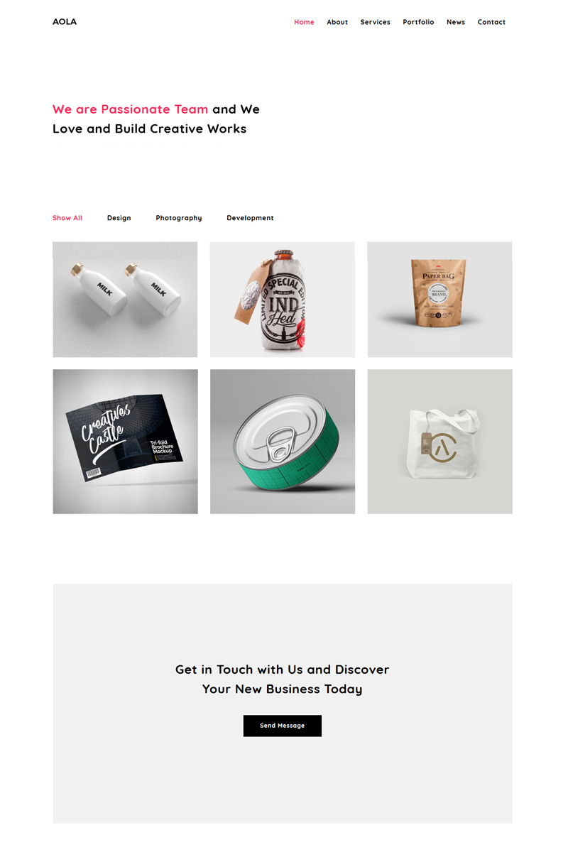 Aola - Minimalist Portfolio Joomla Template - screenshot