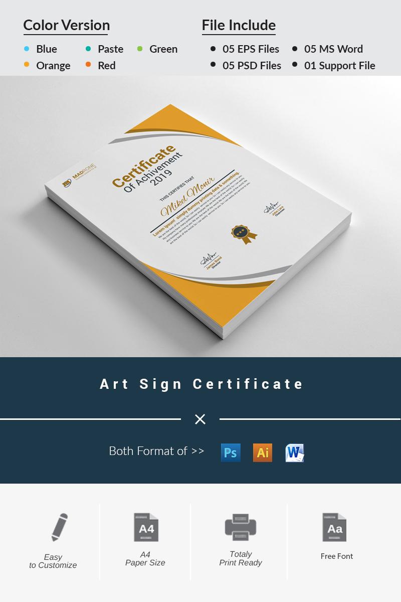 """Art Sign"" Certificate Template №81289"
