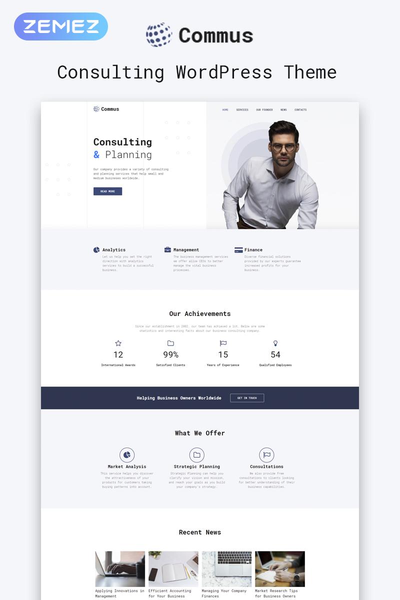 """Commus - Business Multipurpose Minimal Elementor"" Responsive WordPress thema №81209"