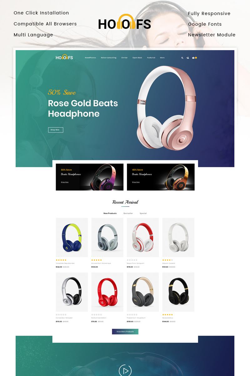 Hoofs - Headphone Store OpenCart Template