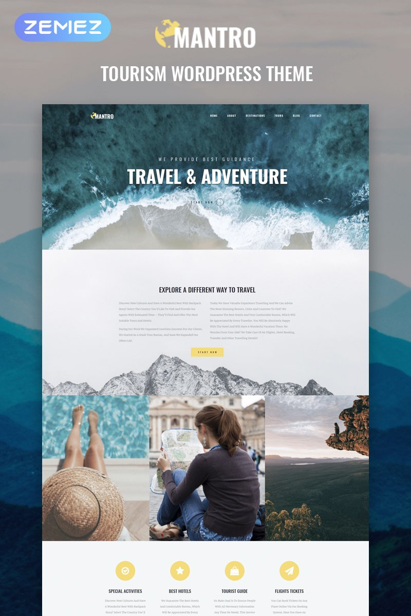 Mantro - Tourism One Page Modern Elementor Tema WordPress №81210
