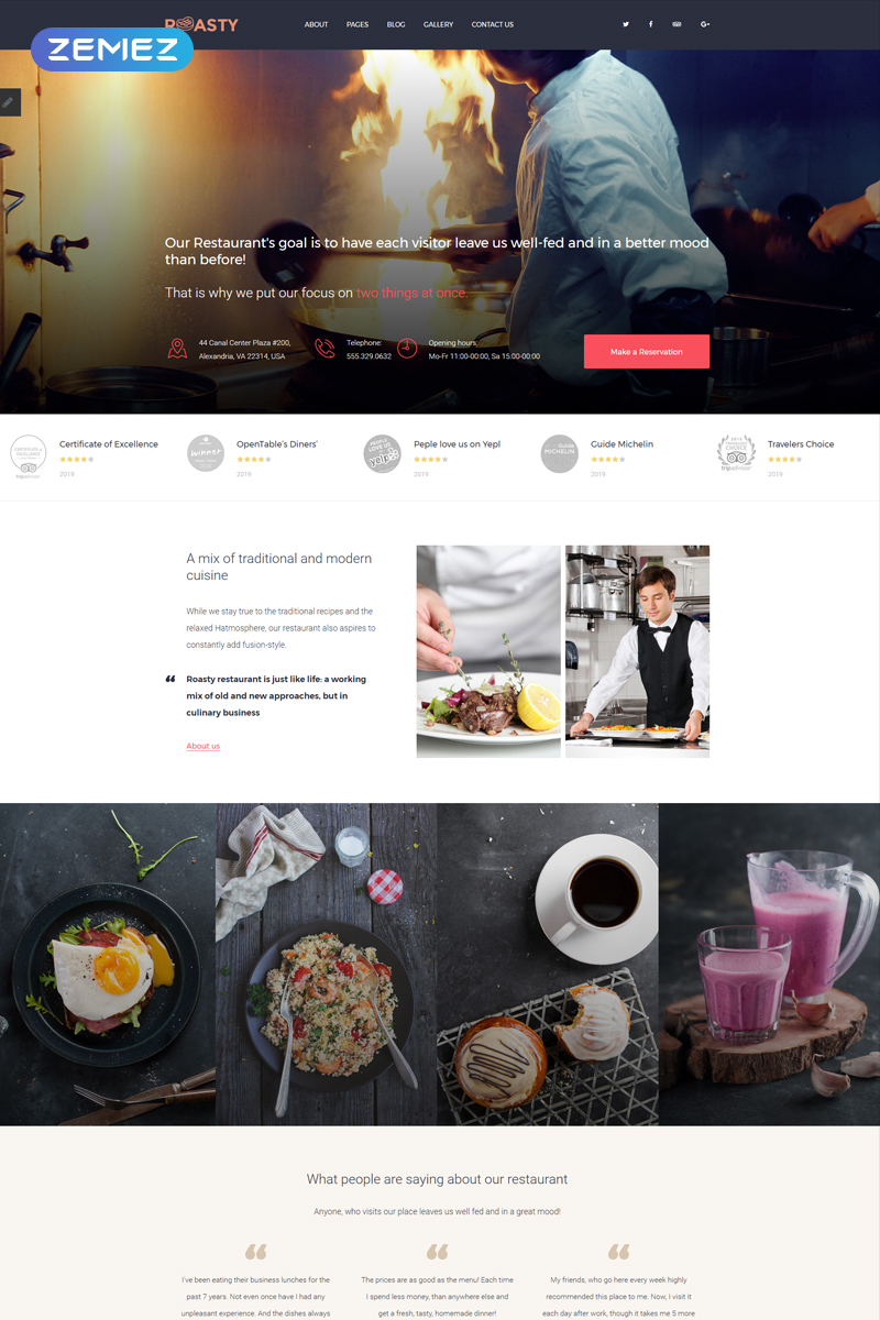 "Plantilla Joomla ""Roasty - Steakhouse -Modern"" #81215"