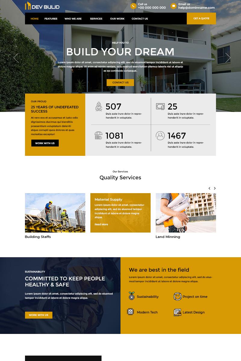 "PSD Vorlage namens ""Dev Build - Construction Company"" #81264"