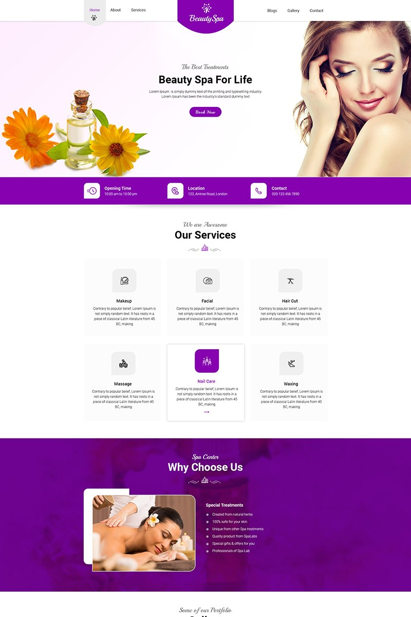 Responsive Beauty Spa - Beauty Salon & Spa Psd #81225