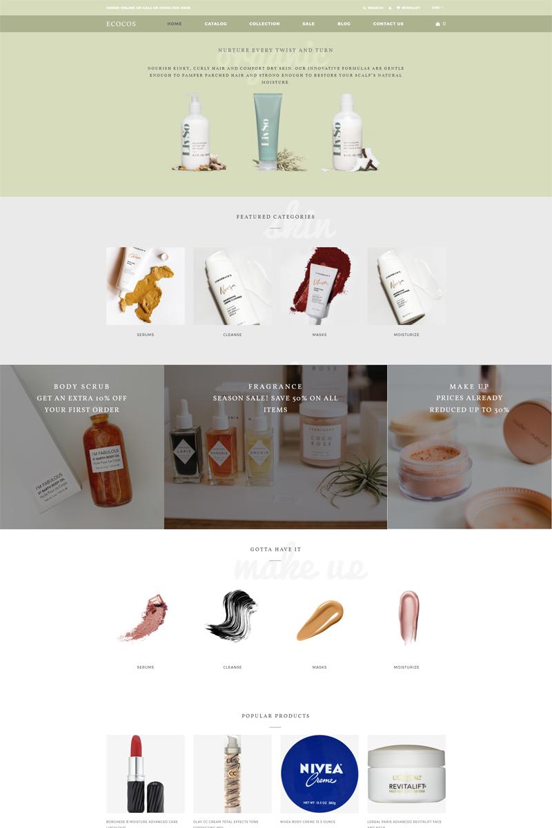 Responsivt Ecocos - Cosmetics Store eCommerce Modern Shopify-tema #81214