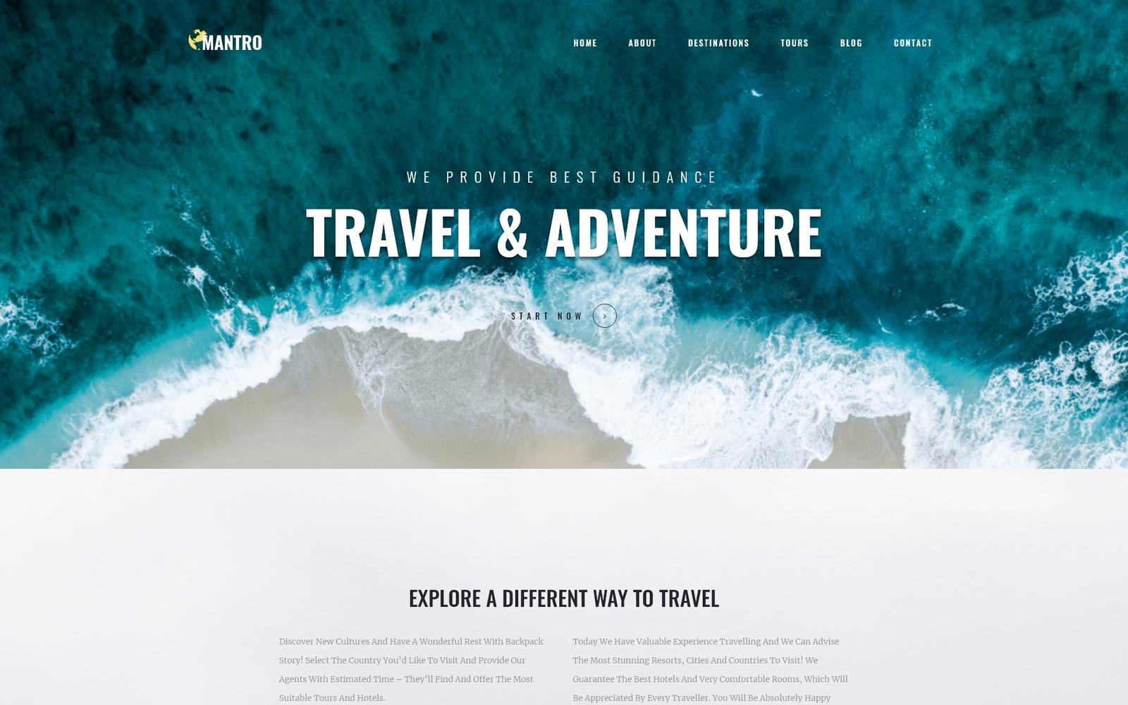Reszponzív Mantro - Tourism One Page Modern WordPress Elementor Theme WordPress sablon 81210