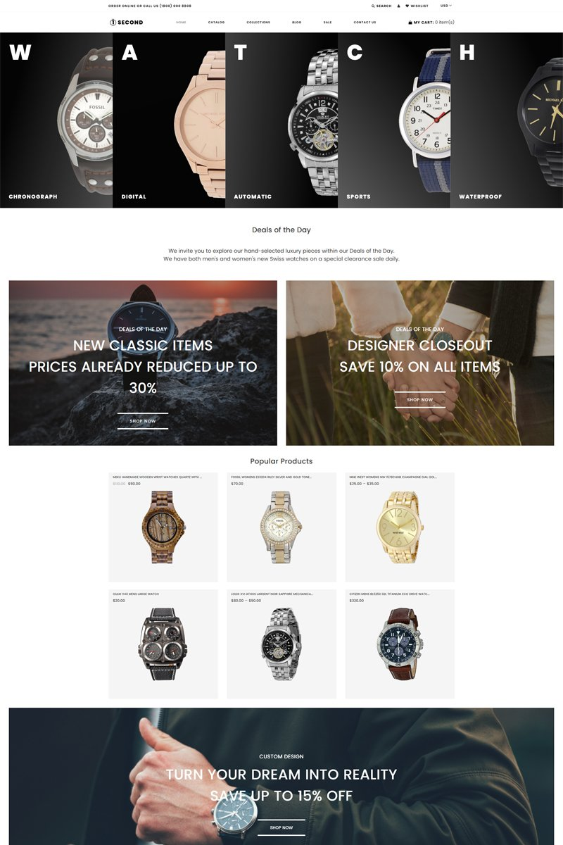"""1Second - Watches store eCommerce Clean"" - адаптивний Shopify шаблон №81211"