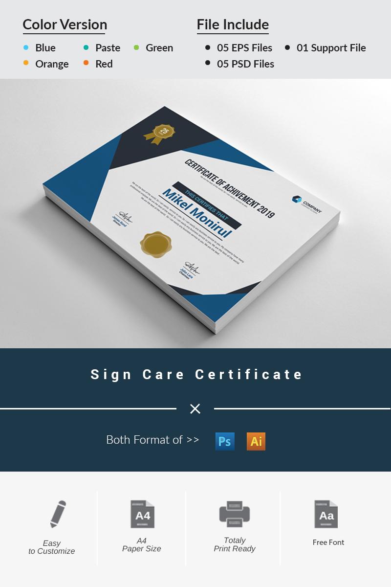 Sign Care Certificate Template