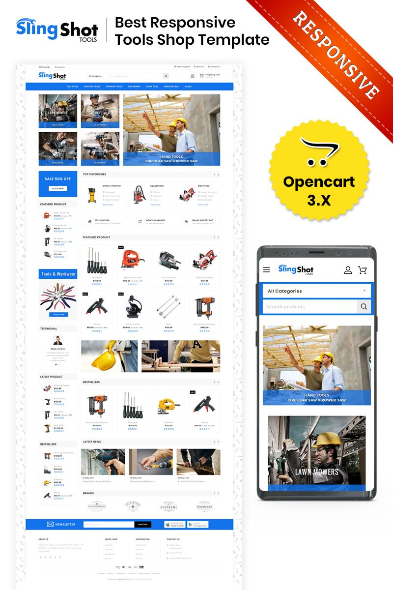 Slingshot - The Tools Store OpenCart Template
