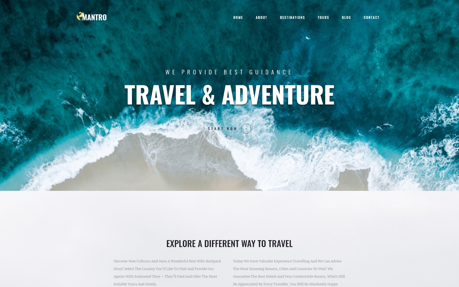 "Tema De WordPress ""Mantro - Tourism One Page Modern Elementor"" #81210"