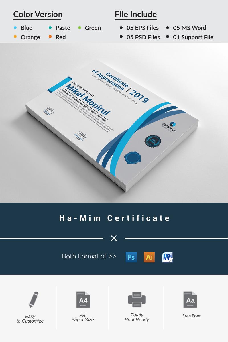 "Zertifikat-Vorlage namens ""Ha-Mim"" #81281"