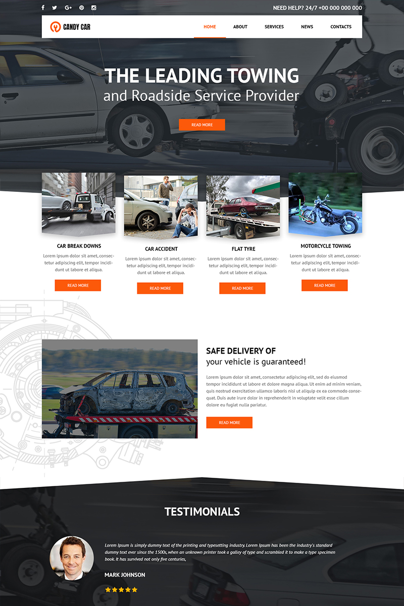 Candy Car - Towing Services PSD Template