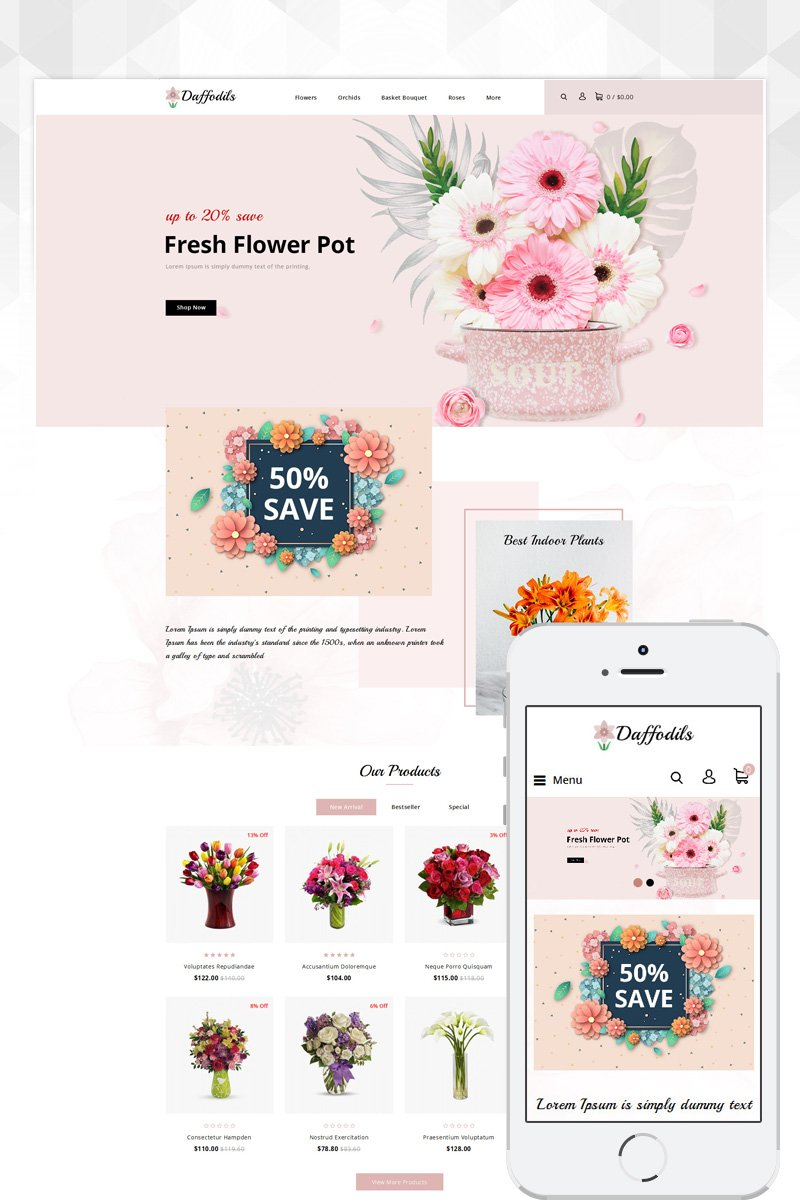 Daffodils - Flowers Store Template OpenCart №81354