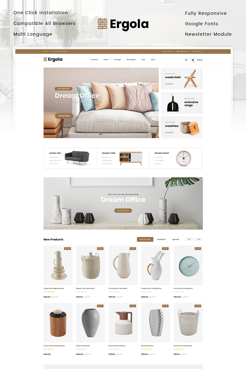 """Ergola - Furniture Store"" - адаптивний OpenCart шаблон №81362"