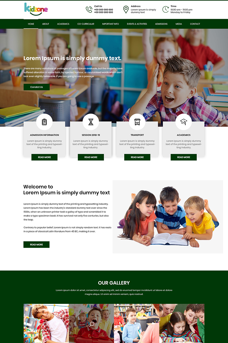 """Kidzone - Kindergarten School"" - PSD шаблон №81341"