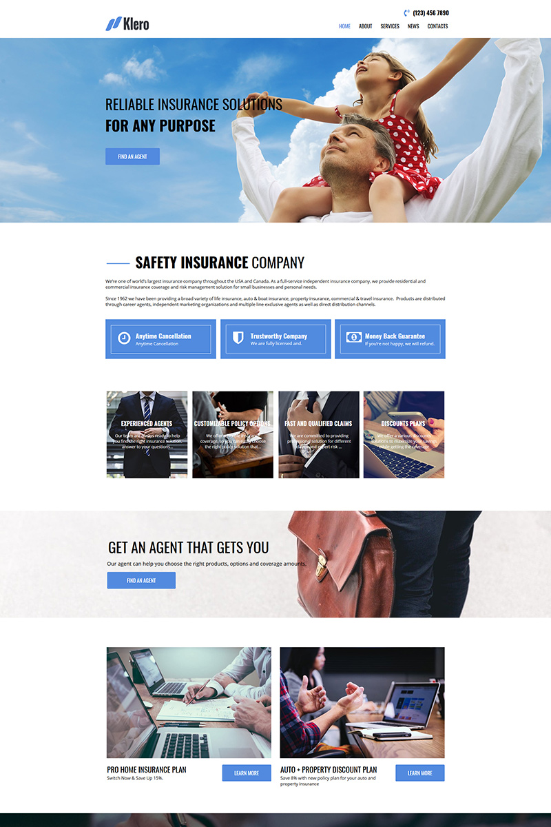 Klero - Insurance Services Moto CMS HTML-mall #81348
