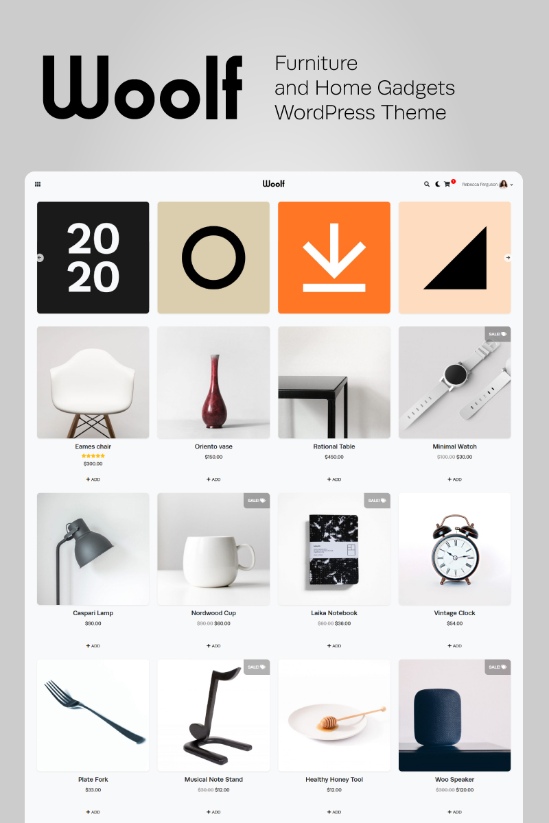 """Modello WooCommerce Responsive #81335 """"WOOLF - Author's Furniture and Home Gadgets"""""""