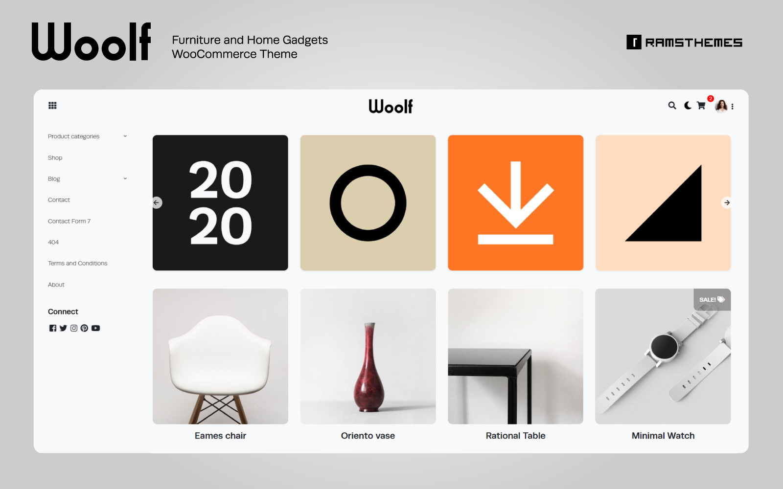 """Modello WooCommerce Responsive #81335 """"WOOLF - Furniture and Home Gadgets"""""""