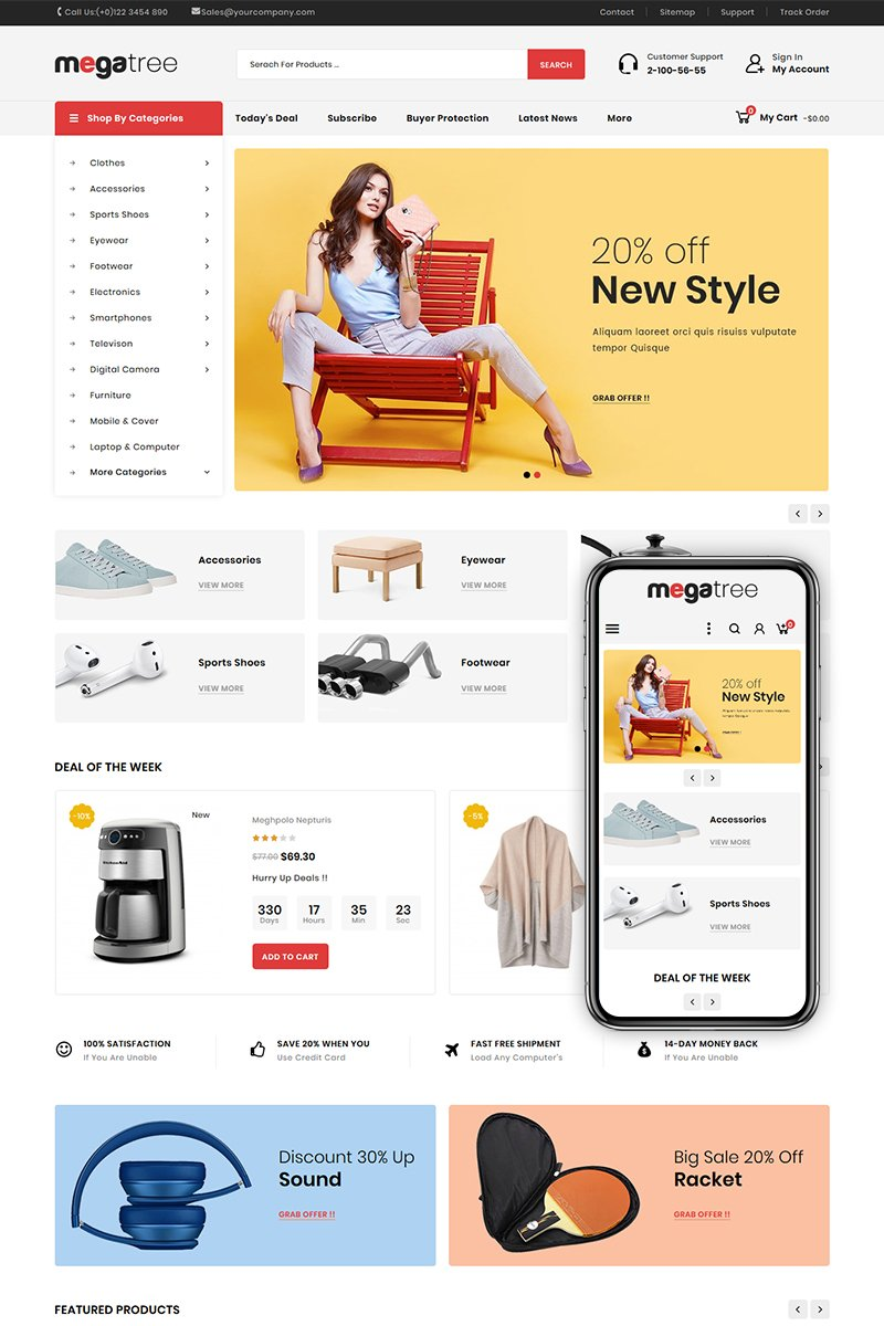"PrestaShop Theme namens ""Megatree - Multi Purpose Store"" #81363"