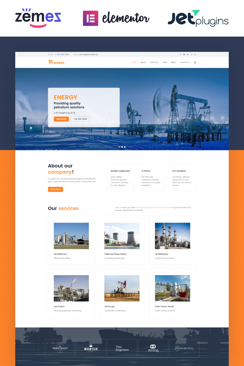 """""""Provem - Reliable And Solid Energy"""" Responsive WordPress thema №81339"""