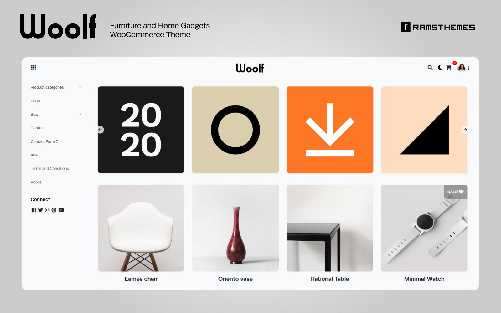 "WooCommerce Theme namens ""WOOLF - Furniture and Home Gadgets"" #81335"