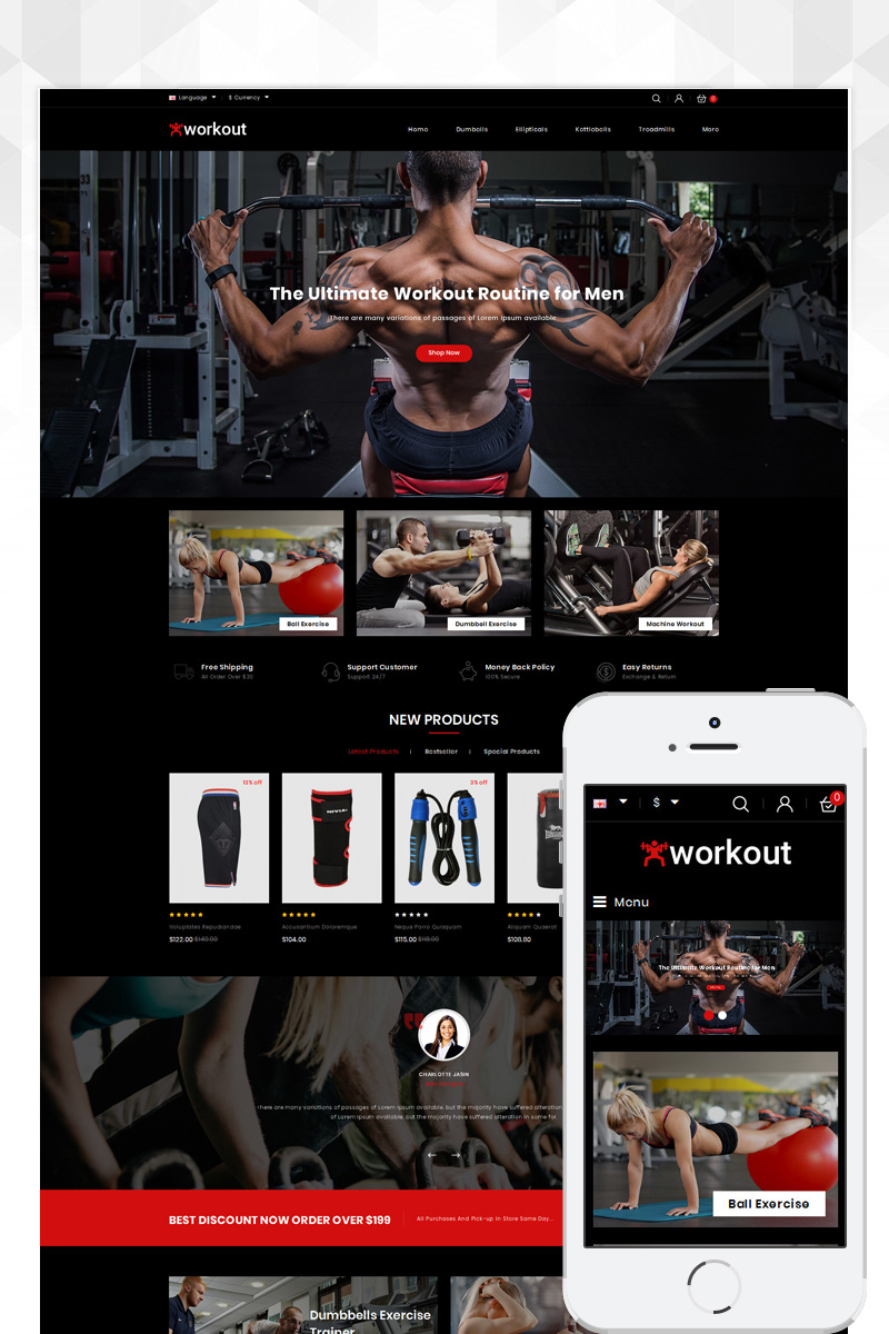 """Workout - Fitness Store"" Responsive OpenCart Template №81332"