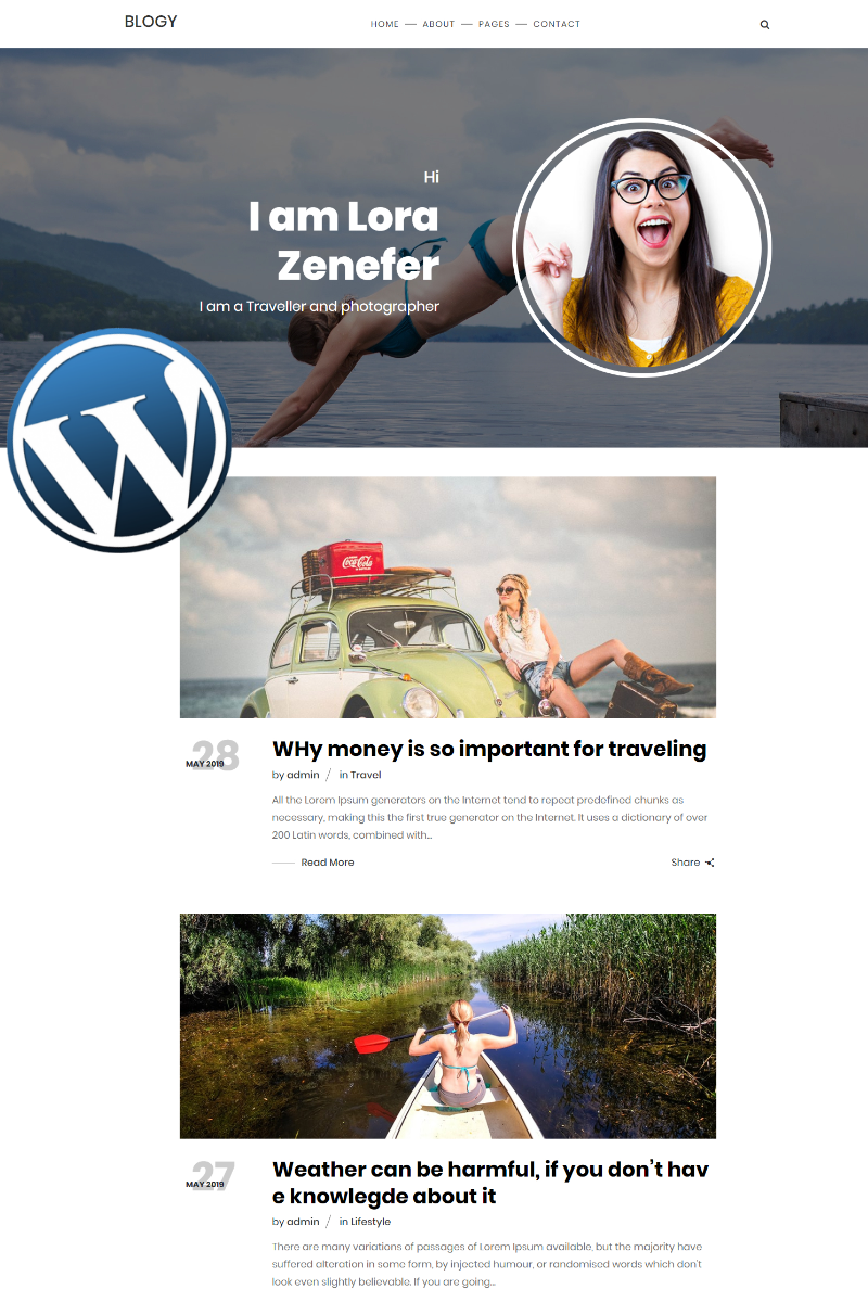 """Blogy Personal Blog Responsive"" thème WordPress adaptatif #81454 - screenshot"