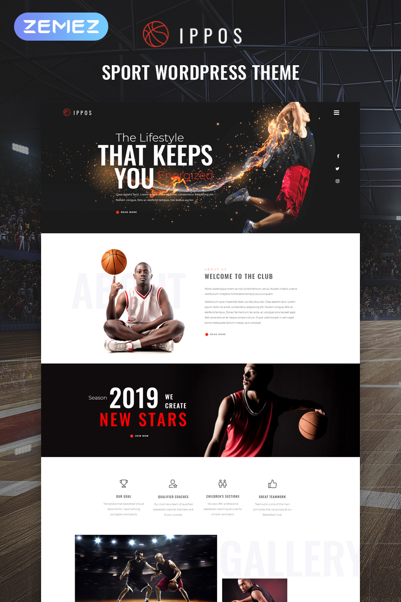 """Ippos - Sport Multipurpose Modern Elementor"" Responsive WordPress thema №81470"