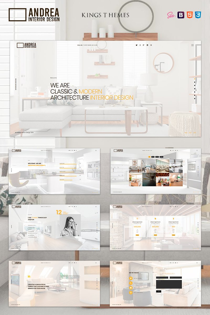 Andrea - Architecture and Interior Design Landing Page Template