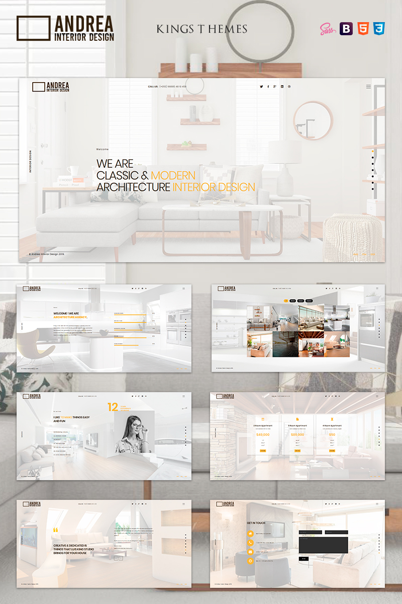 """Andrea - Architecture and Interior Design"" modèle  de page d'atterrissage adaptatif #81580"