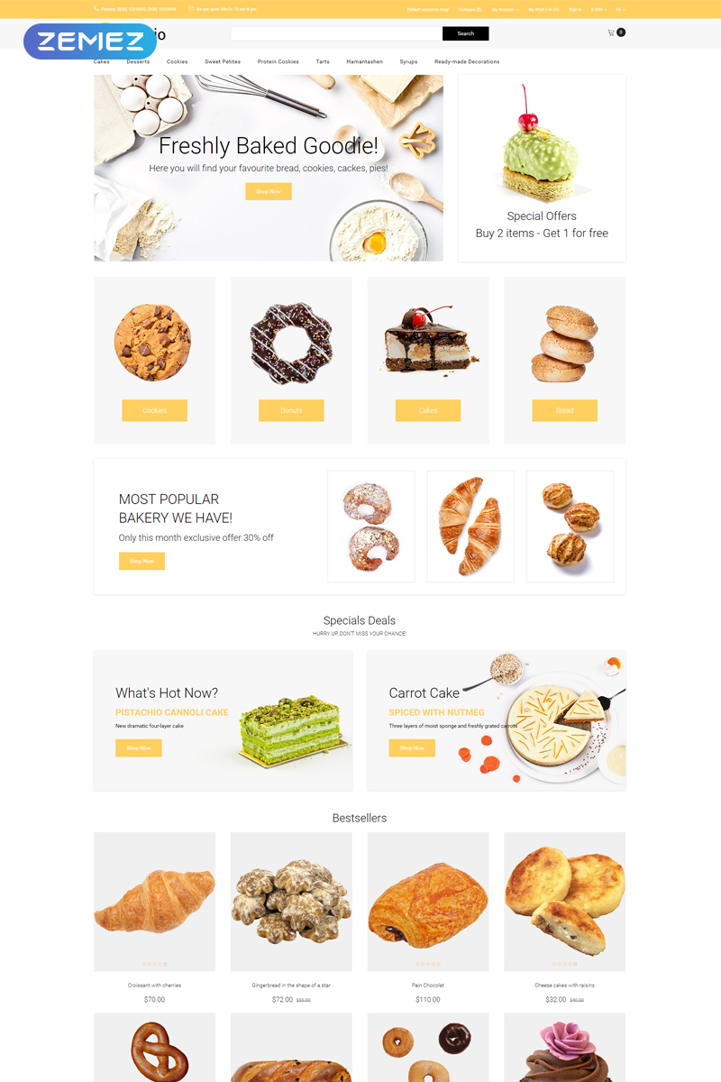 """Bakeio - Bakery eCommerce Creative"" Responsive OpenCart Template №81518"
