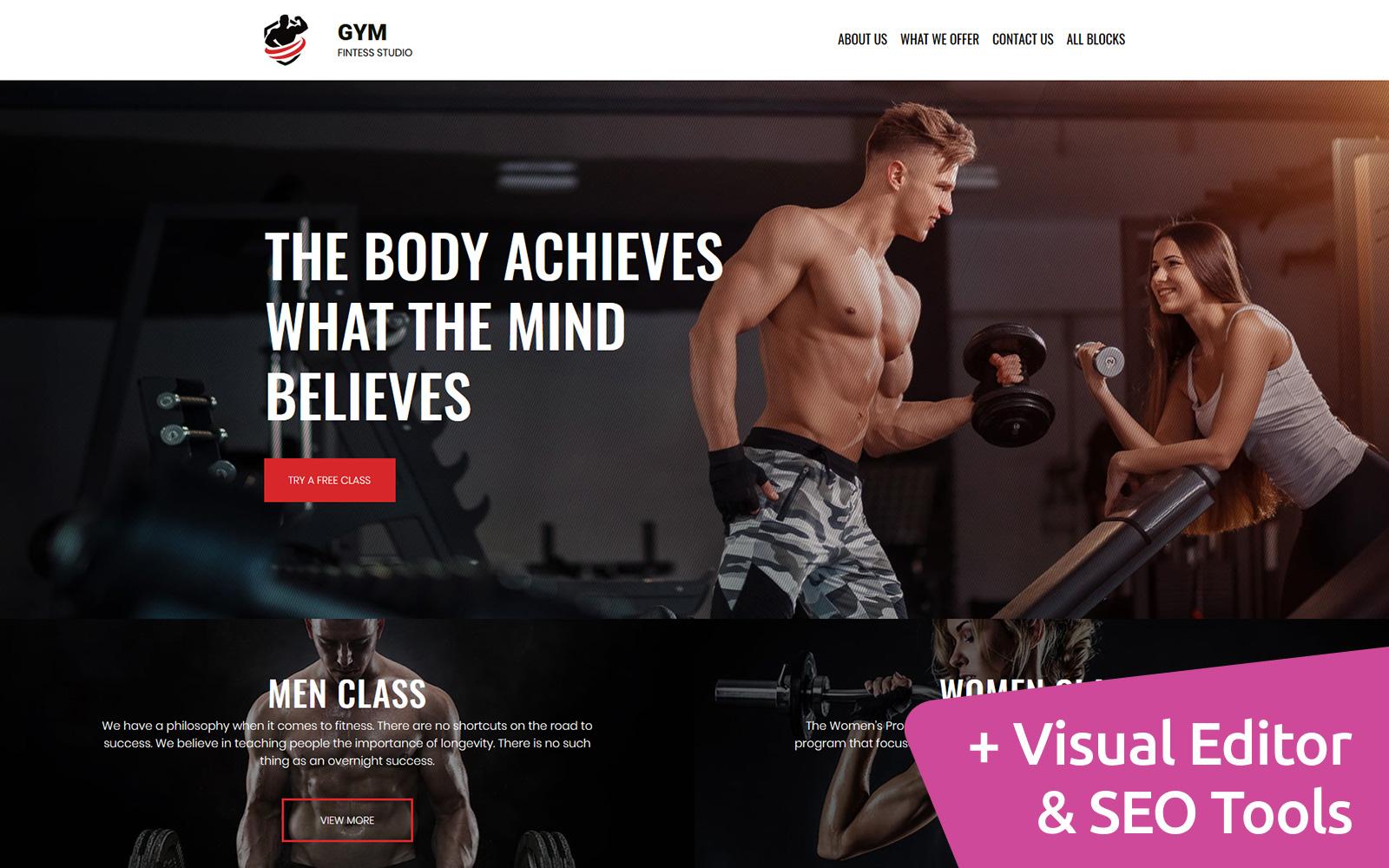 """""""Gym - Fitness Studio"""" modèle  de page d'atterrissage adaptatif #81566"""