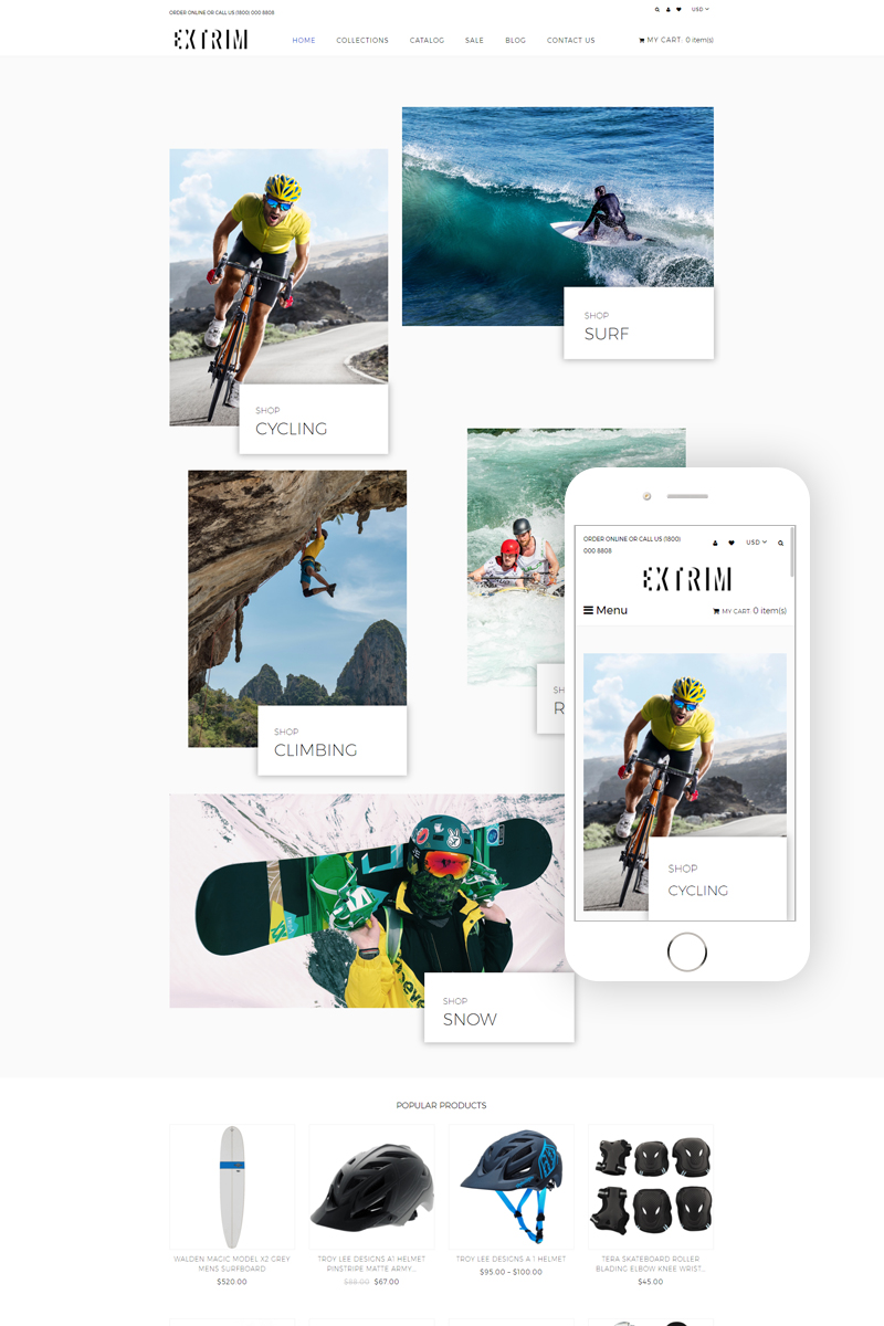 """Modello Shopify Responsive #81563 """"Extrim - Extreme Sports Multipage Modern"""""""