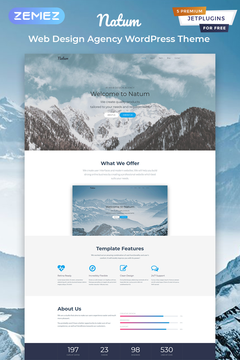 Reszponzív Natum - Web Design Multipurpose Modern Elementor WordPress sablon 81576
