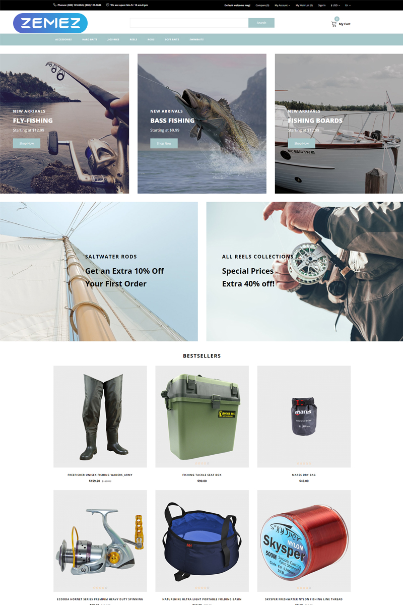 """Siltic - Fishing Tackle E-commerce Modern"" Responsive OpenCart Template №81520"