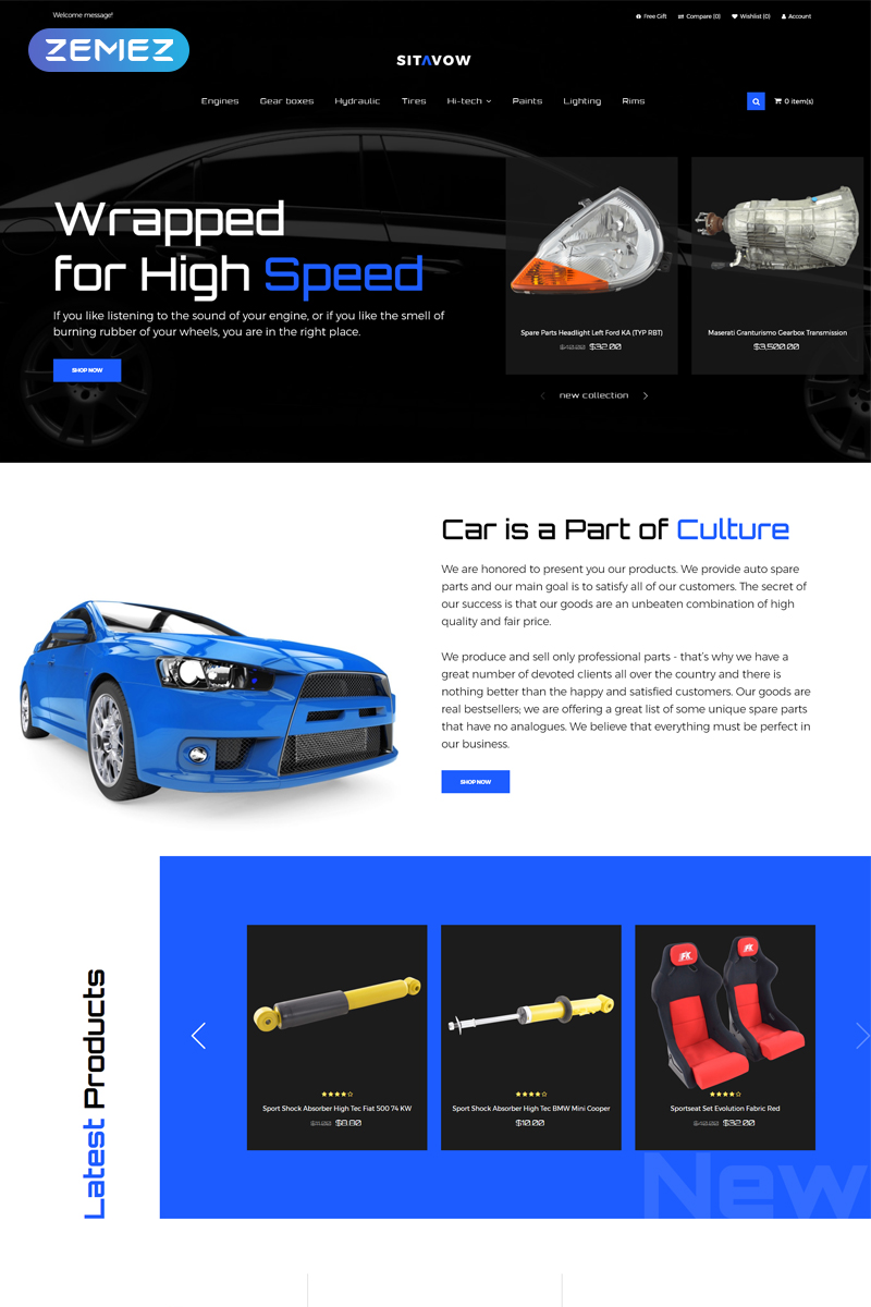 Sitavow - Auto Parts Clean OpenCart Template