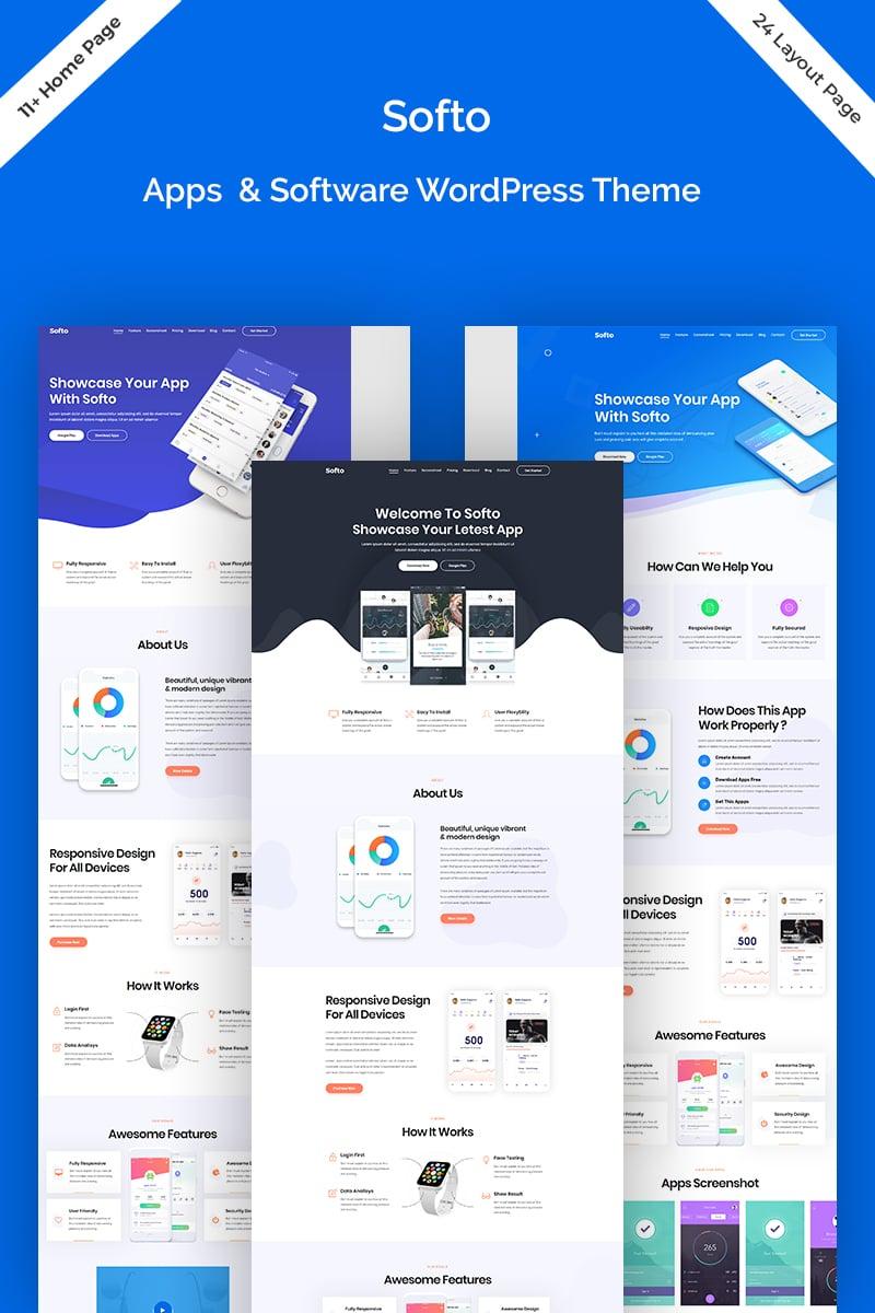 """Softo - Software Sass & App Landing"" Responsive WordPress thema №81510"